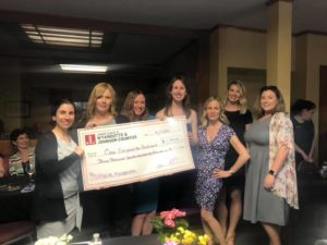 Group of women holding large check